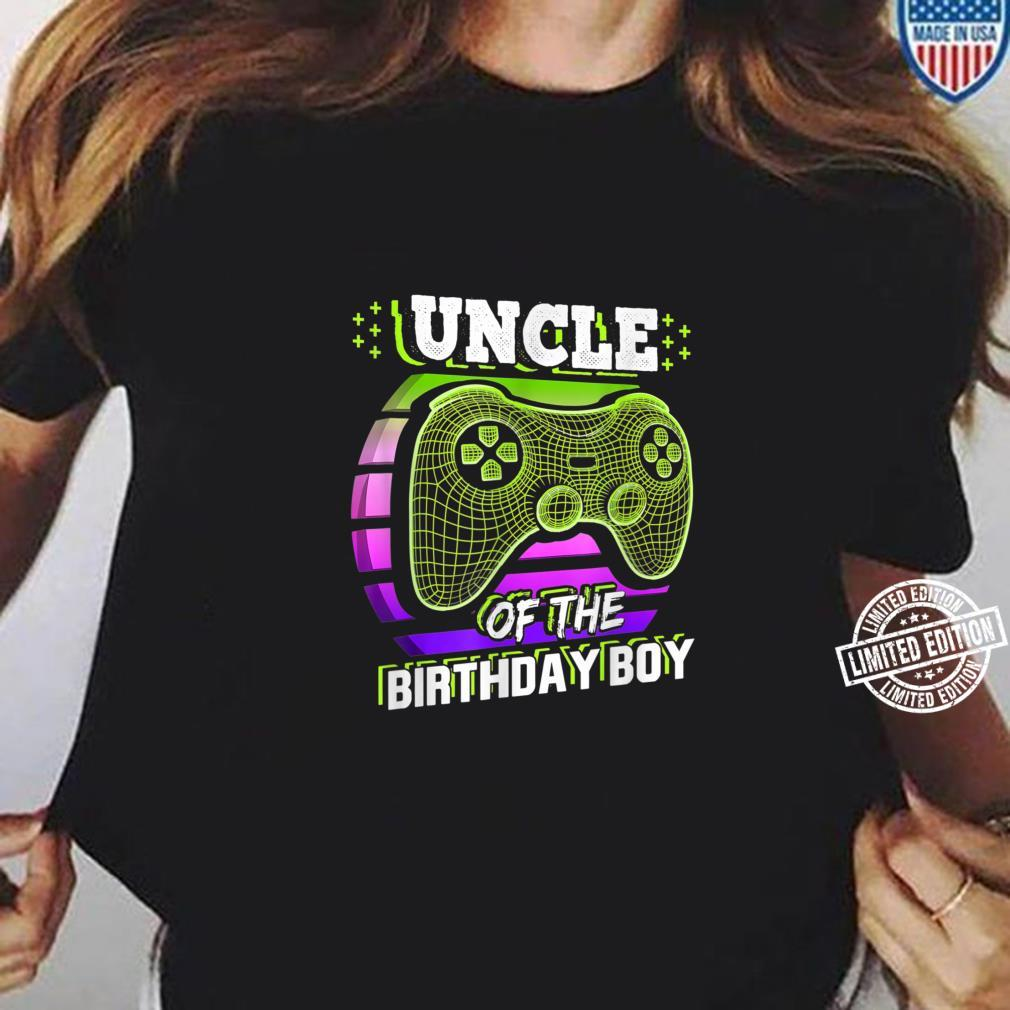 Uncle of the Birthday Boy Matching Video Gamer Party Shirt ladies tee
